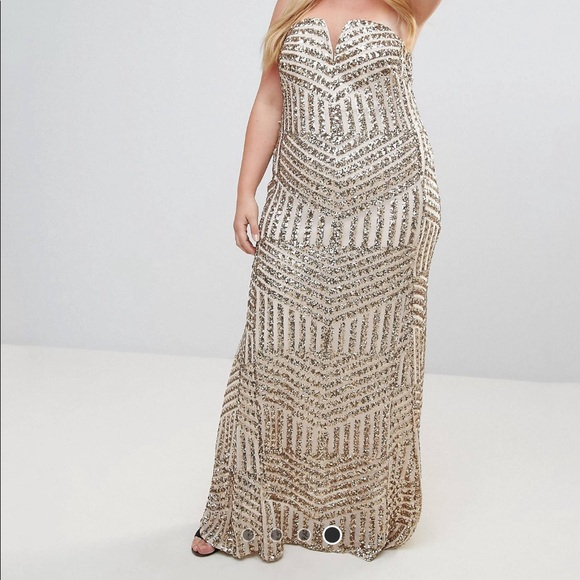 216012482b TFNC Dresses | Plus Sequin Bandeau Maxi Formal Dress | Poshmark